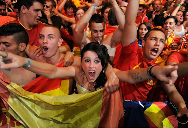 Spanish Fans Watch The UEFA EURO 2012 Semi-Final Match Against Portugal