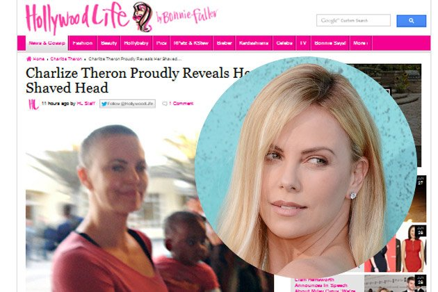 Charlize Theron zeigt Glatze! (Screenshot: hollywoodlife.com, Bild: Getty images)