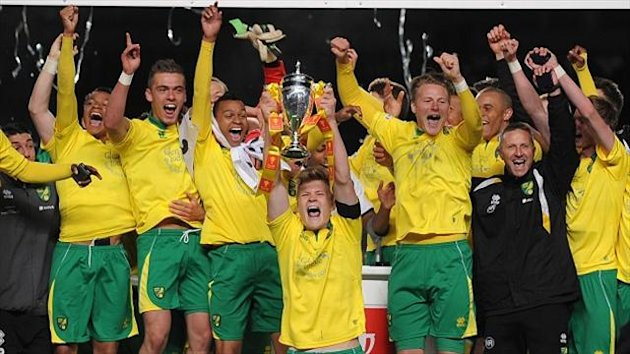 Norwich City's Captain Cameron McGeehan lifts the FA Youth Cup