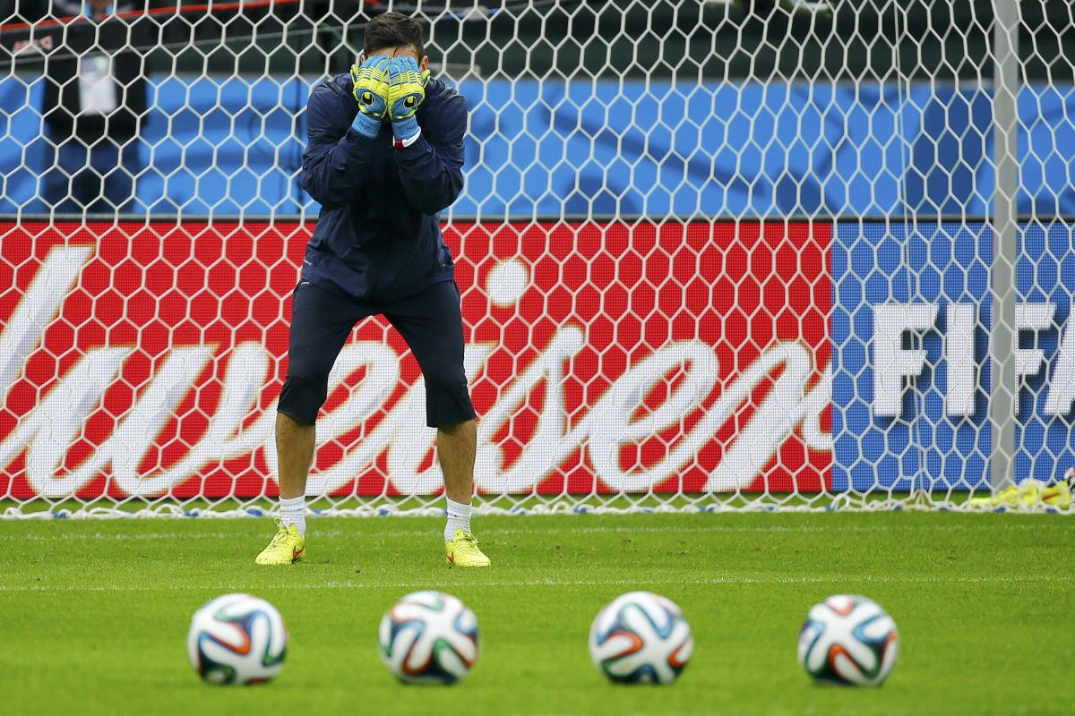 France's national goalkeeper Hugo Lloris attends his team's final practice at the Beira-Rio stadium in Porto Alegre