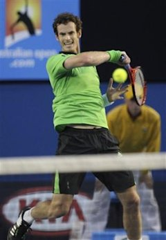 Britain's Andy Murray makes a forehand return to Spain's David Ferrer during their semifinal match at the Australian Open tennis championships in Melb