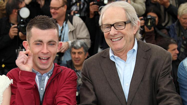 Actor Paul Brannigan, left and director Ken Loach pose during a photo call for The Angel's Share at the 65th international film festival, in Cannes, southern France, Tuesday, May 22, 2012. (AP Photo/Joel Ryan)