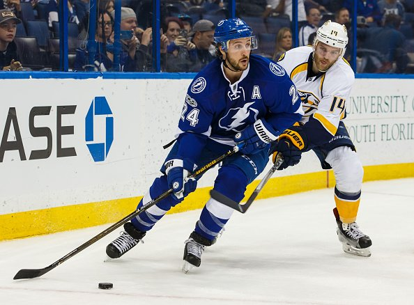 TAMPA, FL - JANUARY 5: Ryan Callahan #24 of the Tampa Bay Lightning skates against Mattias Ekholm #14 of the Nashville Predators during the third period at Amalie Arena on January 5, 2017 in Tampa, Florida. (Photo by Scott Audette/NHLI via Getty Images)