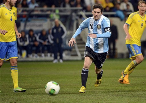 Argentina's Lionel Messi in action during the international friendly football match between Sweden and Argentina, at Friends Arena in Stockholm, Sweden, Wednesday Feb. 6, 2013. (AP Photo/ Scanpix Sweden, Leo Selln)