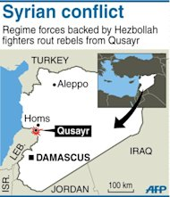 Map of Syria locating the strategic border town of Qusayr. The United States condemned an assault by Syrian troops on the town of Qusayr, claiming the regime had relied on Hezbollah to win the battle and caused tremendous suffering