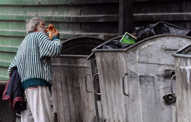 Homless man in Skopje