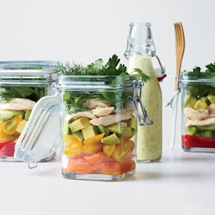 Layered Chicken Salad with Coriander-Yogurt Dressing
