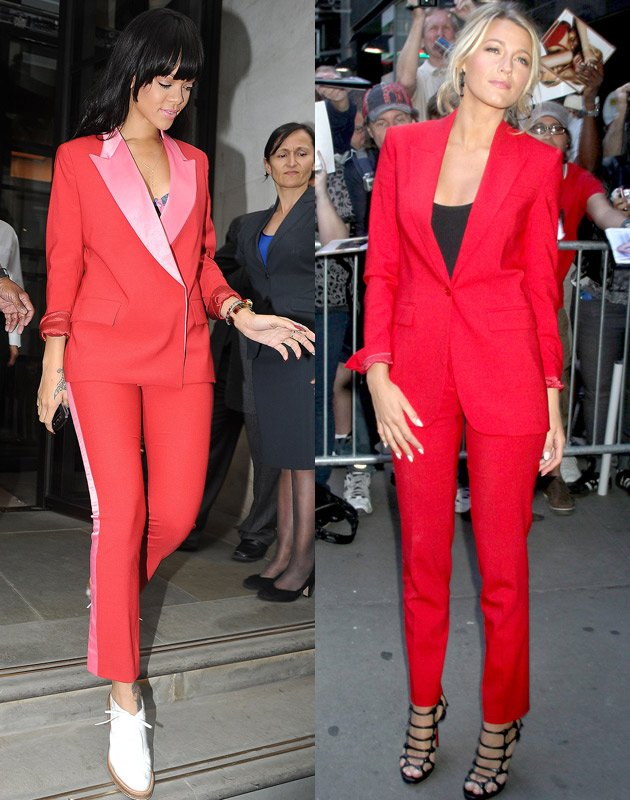 Rihanna, Blake Lively, trouser suit, red