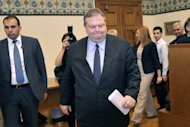 Greek socialist leader Evangelos Venizelos arrives for a televised address at the Greek parliament in Athens May 11. Greece's president was set Saturday to call last-ditch talks in a bid to forge an emergency unity government and avoid fresh elections, after the main parties failed to form a working coalition