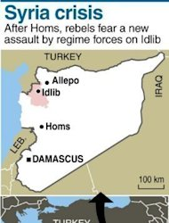 A map locating city and province of Idlib in Syria. UN-Arab League peace envoy Kofi Annan left Damascus on Sunday without managing to secure an accord to end bloodletting in Syria, as fighting raged in major flashpoints leaving dozens more dead