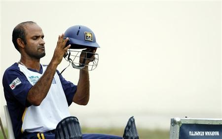 Sri Lanka's Atapattu prepares to bat at a team training session during the World Cup cricket tournament on Grenada
