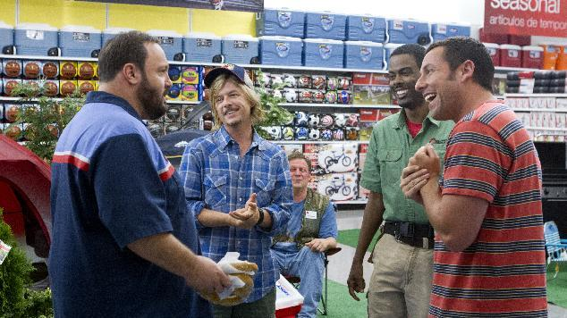 "This film publicity image released by Columbia Pictures shows, from left, Kevin James, David Spade, Jonathan Loughran, seated, Chris Rock, and Adam Sandler in a scene from ""Grown Ups 2."" (AP Photo/Sony - Columbia Pictures, Tracy Bennett)"