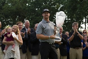Hunter Mahan holds the Barclays Trophy after winning at Ridgewood Country Club. (USA Today)