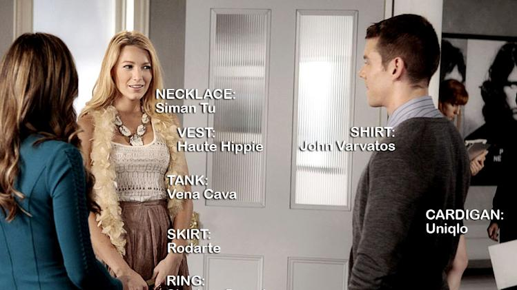 "Elizabeth Hurley as Diana Payne, Blake Lively as Serena Van Der Woodsen, and Brian J. Smith as Max in the Season 5 episode ""The Big Sleep No More."" Gossip Girl"