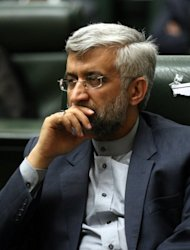 "Iran's chief nuclear negotiator Saeed Jalili attends the opening session of Iran's new parliament in Tehran on May 27. Iran's president has insisted enriching uranium to 20 percent ""is our right"" and not a step towards a bomb, as a US envoy warned the window for dialogue over Tehran's nuclear programme was closing"