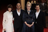 US director Nora Ephron (L) arrives with US actors Stanley Tucci (2ndL), Meryl Streep who starred in the food -oriented film 'Julie & Julia.'