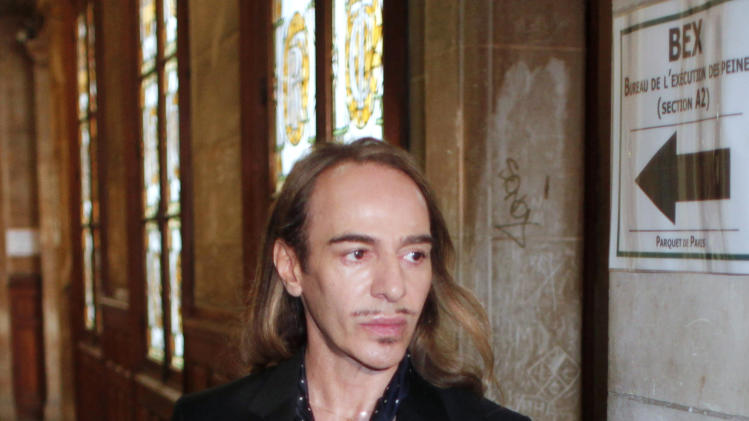 FILE - In this June 22, 2011, file photo, former Dior designer John Galliano arrives at a Paris court house. Parsons The New School of Design in New York City canceled a four-day workshop by the controversial  fashion designer John Galliano Wednesday May 8, 2013. (AP Photo/Thibault Camus, File)