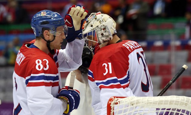Feb 14, 2014; Sochi, RUSSIA; Czech Republic goalie Ondrej Pavelec (31) celebrates with forward Ales Hemsky (83) after a men's preliminary round ice hockey game against Latvia during the Sochi 2014 Olympic Winter Games at Bolshoy Ice Dome. (Winslow Townson-USA TODAY Sports)