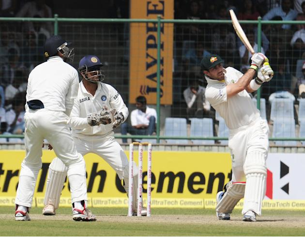 Mitchell Johnson in an action against India during the 4th test match of Border Gavaskar Trophy, at Ferozeshah Kotla Stadium in Delhi on March 22, 2013. P D Photo by P S Kanwar