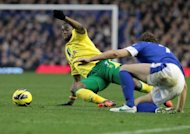 Sebastien Bassong (left) clears the ball from Evertons's Nikica Jelavic during the Premier League game at Goodison on Saturday. Norwich City said on Sunday they would speak to police about allegations of racist abuse directed towards their Cameroonian defender on Twitter