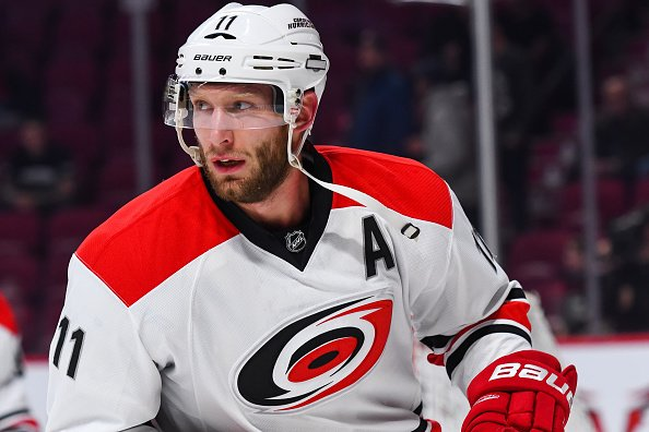 MONTREAL, QC - NOVEMBER 24: Look on Carolina Hurricanes Center Jordan Staal (11) at warmup before the Carolina Hurricanes versus the Montreal Canadiens game on November 24, 2016, at Bell Centre in Montreal, QC (Photo by David Kirouac/Icon Sportswire via Getty Images)