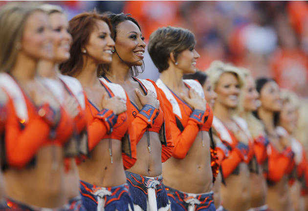 The Denver Broncos cheerleaders line up prior to an NFL football game against the Indianapolis Colts, Sunday, Sept. 7, 2014, in Denver. (AP Photo/Joe Mahoney)