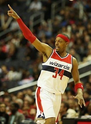 WASHINGTON, DC - FEBRUARY 07: Paul Pierce #34 of the Washington Wizards celebrates after making a three pointer against the Brooklyn Nets during the first half at Verizon Center on February 7, 2015 in Washington, DC. NOTE TO USER: User expressly acknowledges and agrees that, by downloading and or using this photograph, User is consenting to the terms and conditions of the Getty Images License Agreement. (Photo by Rob Carr/Getty Images)