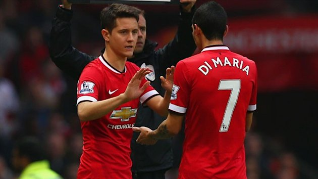 Angel Di Maria is replaced by Ander Herrera during a match. (Getty)