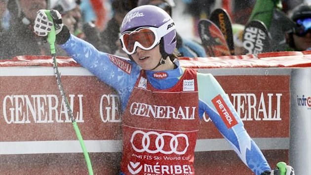 DATE IMPORTED:February 24, 2013Tina Maze of Slovenia reacts after clocking the best time in the Women's World Cup Super Combined Downhill skiing race in Meribel (Reuters)