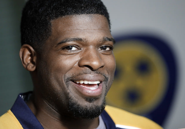 Nashville Predators defenseman P.K. Subban speaks at a news conference Monday, July 18, 2016, in Nashville, Tenn. Subban was acquired from the Montreal Candiens in a trade for defenseman Shea Weber in June. (AP Photo/Mark Humphrey)