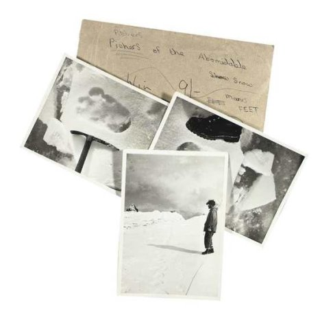 Four photos depicting the supposed footprints of a mythical creature known as the Yeti are currently for sale online.