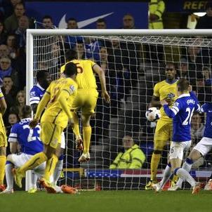 Crystal Palace's Dann scores a goal against Everton during their English Premier League soccer match at Goodison Park in Liverpool