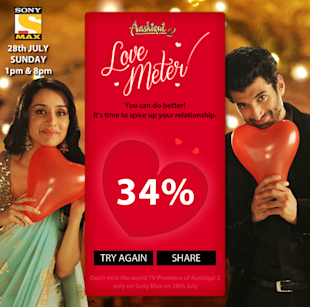 SET Max Goes Social For Aashiqui 2 World Television Premiere image Aashiqui2 love meter