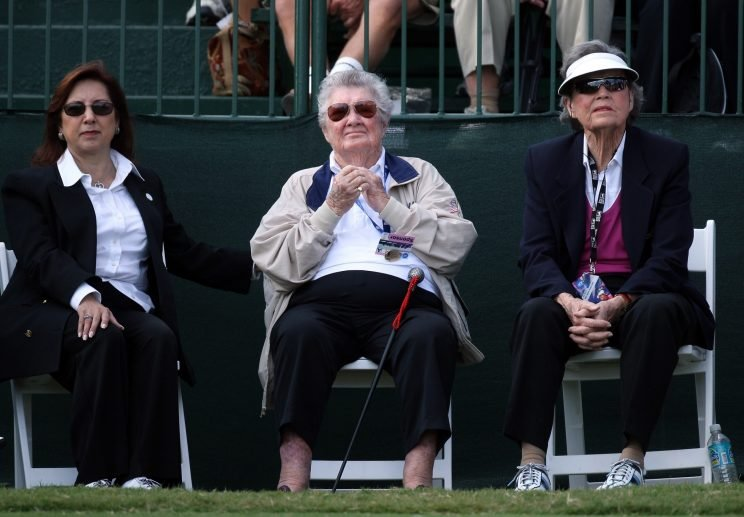 Peggy Kirk Bell (right) was one of the great champions and teachers of women's golf. (Getty Images)