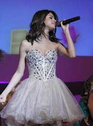 Selena Gomez's Sherri Hill dress is a popular prom option this year. Photo by Getty Images.