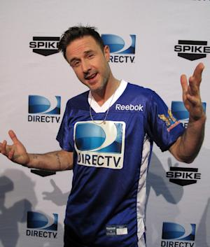 Actor David Arquette arrives at DIRECTV's Sixth Annual Celebrity Beach Bowl on Saturday, Feb. 4, 2012  at Victory Field in Indianapolis.  (AP Photo/Nekesa Moody)