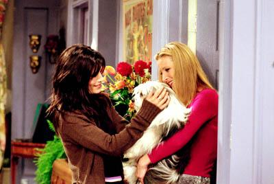 "Courteney Cox and Lisa Kudrow in ""The One Where Chandler Doesn't Like Dogs"" in NBC's Friends"
