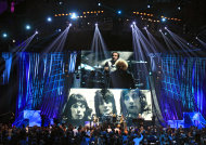 Members of Small Faces/Faces perform after induction into the Rock and Roll Hall of Fame Saturday, April 14, 2012, in Cleveland. (AP Photo/Tony Dejak)