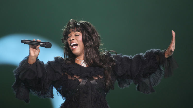 FILE - In this Dec. 11, 2009 file photo, Donna Summer performs at the conclusion of the Nobel Peace concert in Oslo, Norway.  Summer is nominated for induction into the Rock and Roll Hall of Fame in 2013. (AP Photo/John McConnico, File)