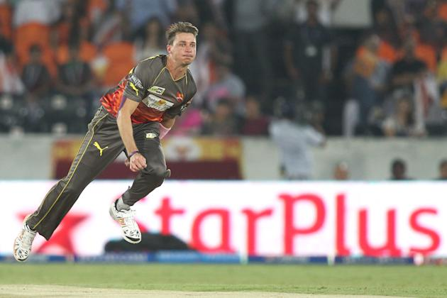 Dale Steyn of Sunrisers Hyderabad sends down a delivery during match 68 of the Pepsi Indian Premier League between The Sunrisers Hyderabad and The Rajasthan Royals held at the Rajiv Gandhi Internation