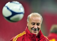 Spain coach Vicente del Bosque attends a training session at Wembley Stadium in November 2011. Spain will play friendlies against Serbia, South Korea and China as warm-up matches for the June 8-July 1 European championships