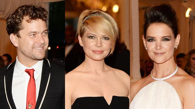 "Joshua Jackson, Michelle Williams and Katie Holmes attend the Costume Institute Gala for the ""PUNK: Chaos to Couture"" exhibition at the Metropolitan Museum of Art on May 6, 2013 in New York City."