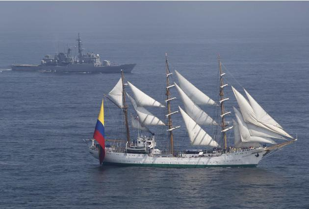 "Colombian-registered sailing ship Gloria, followed by a Peruvian Navy ship, takes part in the ""Velas de America"" sailing encounter in Callao Bay"