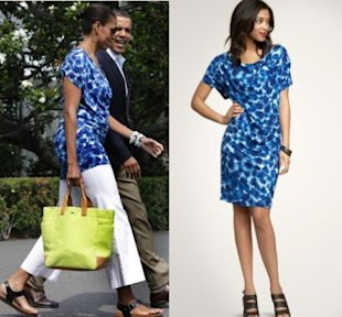 Michelle Obama wore a sale Gap dress. Photos by Getty Images and Gap.