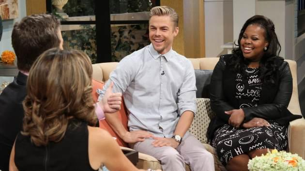 Amber Riley and Derek Hough stop by Access Hollywood Live on September 24, 2013 -- Access Hollywood