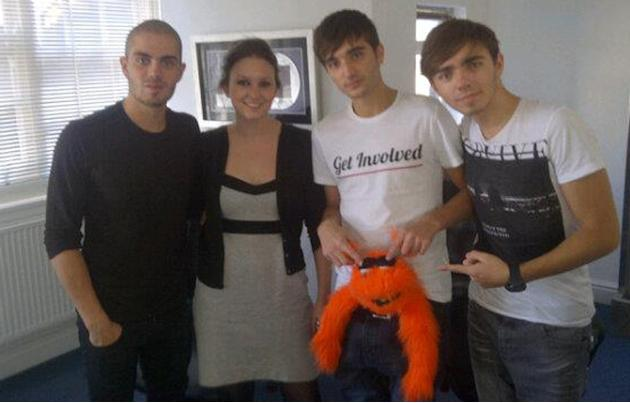 Celebrity photos: The Wanted are always playing pranks on us when we meet, on this occasion they subjected Mr omg! to Tom's pants – we hope they were clean!