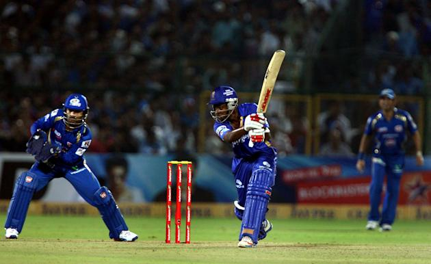 Rajasthan Royals batsman Sanju Samson in action during the CLT20 match against Mumbai Indians at Sawai Mansingh Stadium, Jaipur on Sept. 21, 2013. (Photo: IANS)