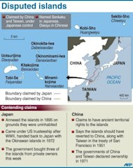 Graphic on the disputed Senkaku/Diaoyu islands in Japanese administration, also claimed by China