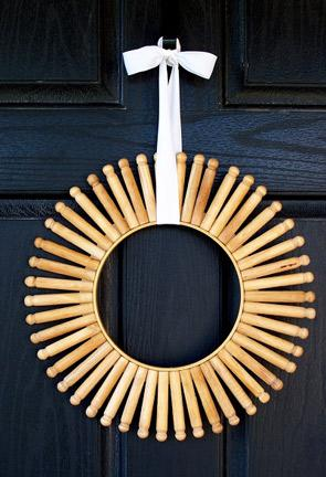 Embroidery Hoop + Clothespin Wreath