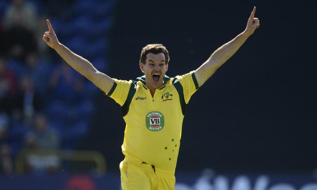 Australia's Clint McKay celebrates after achieving a hat-trick after dismissing England's Joe Root during the fourth one-day international at Sophia gardens in Cardiff